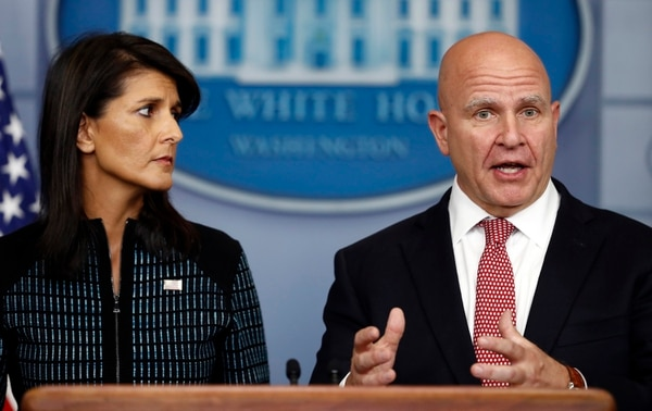 National security adviser H.R. McMaster, right, and U.S. Ambassador to the UN Nikki Haley, participate in a news briefing at the White House, in Washington, Friday, Sept. 15, 2017. (Carolyn Kaster/AP)