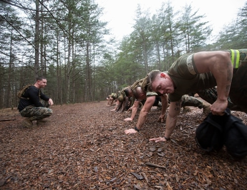 Marines participate in Force Fitness Instructor Course culminating event at The Basic School, Marine Corps Base Quantico, Virginia., February 12, 2018. (Staff Sgt. Melissa Marnell/Marine Corps)