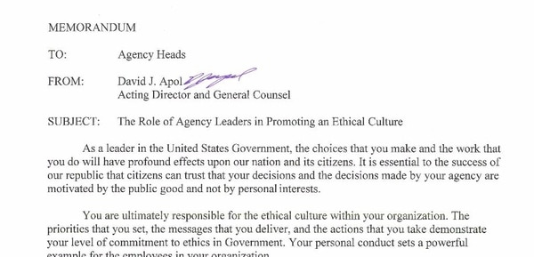 A memo from David Apol, acting director and general counsel for the Office of Government Ethics, dated Oct. 5, 2017. (OGE)