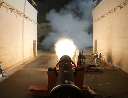 Raytheon's Precision Strike Missile offering's rocket motor undergoes testing. Raytheon has exited the competitive technology maturation phase of the PrSM competition without a flight test. (Photo courtesy of Raytheon)
