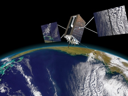 An artist's rendering of the Air Force's next-generation GPS satellite.