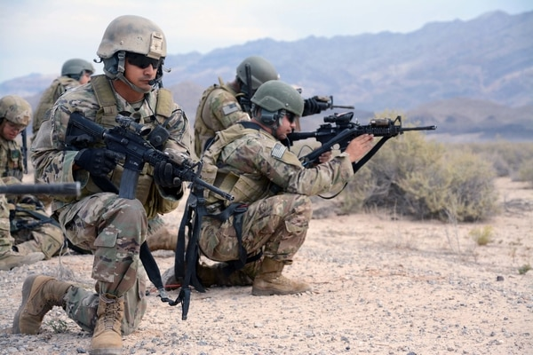 Soldiers from 10th Special Forces Group pull security during an exercise at Nellis Air Force Base, Nev. U.S. Special Operations Command is seeking several new pieces of technology, including long-range facial recognition optics. (Staff Sgt. Jorden M. Weir/Army)