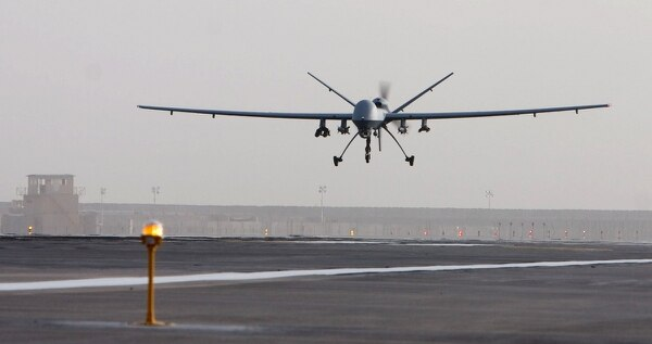 An MQ-9 Reaper takes off for a mission in Afghanistan. (Air Force)