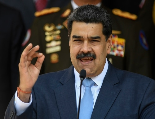 In this March 12, 2020 file photo, Venezuelan President Nicolas Maduro speaks at the Miraflores presidential palace in Caracas, Venezuela. (Matias Delacroix/AP)