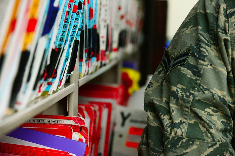 Medical records are filed at the 341st Medical Operations Squadron personnel reliability assurance program clinic Jan. 30, 2017, at Malmstrom Air Force Base, Mont.