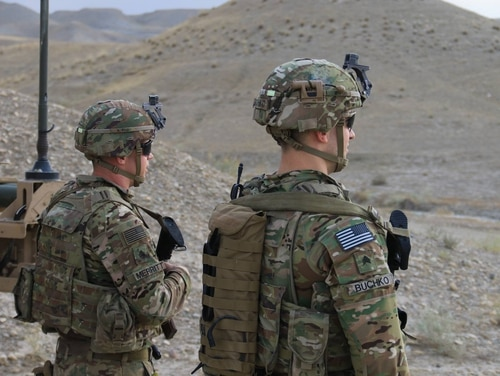 Soldiers from 1st Stryker Brigade Combat Team, 4th Infantry Division, provide security at an undisclosed location in Afghanistan on Sept. 21, 2018. (Spc. Christopher Bouchard/Army)