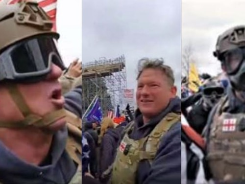 A composite photo of screenshots depicting retired Sgt. 1st Class Jeffrey A. McKellop that were taken from social media posts and police body camera footage during the Jan. 6 riot at the Capitol building. (Criminal complaint/FBI)