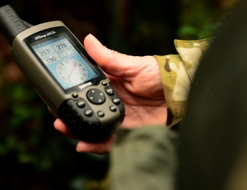 A U.S. airman uses GPS to load coordinates at Langley Air Force Base, Va., on Nov. 19, 2015. (Airman 1st Class Derek Seifert/U.S. Air Force)