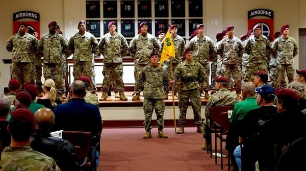 Paratroopers from 1st Brigade Combat Team, 82nd Airborne Division celebrated the activation of Alpha Company, 4th Battalion, 68th Armor Regiment on Fort Bragg, N.C. ( Sgt. Jesse Ledger/Army)