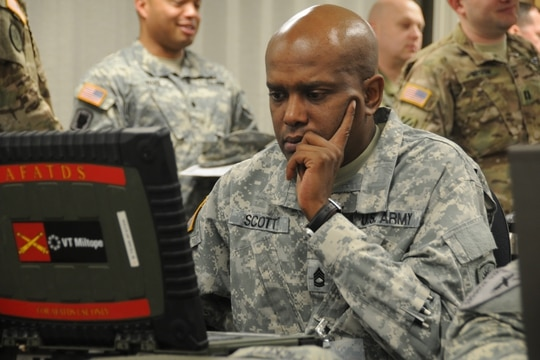The U.S. Army is working to unify its enterprise and tactical networks. (Devon Bistarkey/U.S. Army)