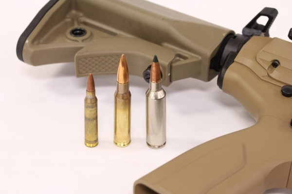 From left to right, 5.56mm NATO, 7.62mm NATO, and the 6.8 short magnum.