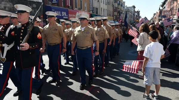 150524-N-CD297-162 New York (May 24, 2015) - Marines assigned to USS San Antonio (LPD 17) march in the Greenpoint Veterans Memorial Parade in the borough of Brooklyn as a part of Fleet Week New York (FWNY) event, May 24. FWNY, now in its 27th year, is the city's time-honored celebration of the sea services. It is an unparalleled opportunity for the citizens of New York and the surrounding tri-state area to meet Sailors, Marines and Coast Guardsmen, as well as witness firsthand the latest capabilities of today's maritime services. (U.S. Navy photo by Mass Communication Specialist 1st Class Andre N. McIntyre/Released)