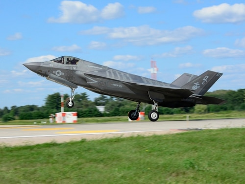 A U.S. Marine Corps F-35 lands Aug. 22, 2018, at Volk Field Air National Guard Base, Camp Douglas, Wis., during the Northern Lightning 18-2 exercise. (Tech. Sgt. Mary E. Greenwood/U.S. Air National Guard)