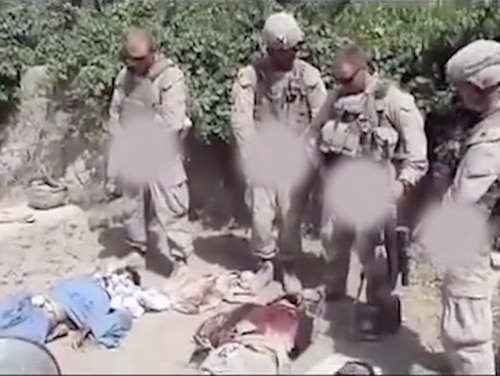 In January 2012, a video emerged online showing scout snipers urinating on Taliban corpses.