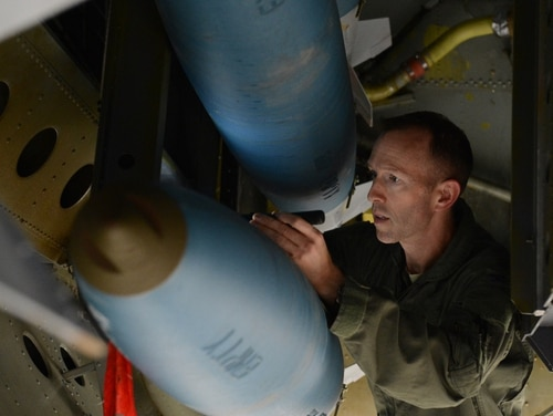 Col. Leland Bohannon, then-vice commander of the 2nd Bomb Wing at Barksdale Air Force Base, La., inspects an inert BDU-50 inside a B-52H Stratofortress in 2015. Bohannon was relieved of command of the the Air Force Inspection Agency at Kirtland Air Force Base, New Mexico, earlier this year. (Air Force photo)