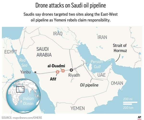 Saudi Arabia said drones attacked one of its pipelines.