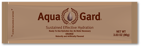 Aqua Gard is a gel-like, orange flavored substance that aims to cut water needs and maintain individual hydration through a combination of amino acids. (Aqua Innovations, Ltd.)