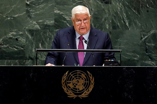 Syria's Deputy Prime Minister Walid Al-Moualem addresses the 74th session of the United Nations General Assembly, Saturday, Sept. 28, 2019. (Richard Drew/AP)