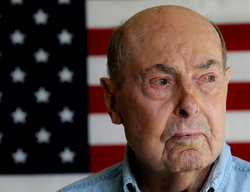 This April 17, 2014, file photo shows Ray Lambert, a combat veteran of the D-Day invasion, at his home in Seven Lakes, N.C. (Gerry Broome/AP)