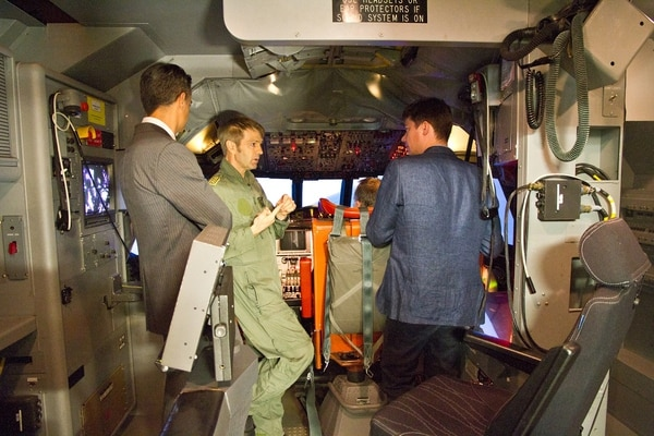 The P-3C Orion cockpit simulator here was initially booked almost every day. Now there are about 10 uses per month, a Navy instructor tells reporters. (German Navy)