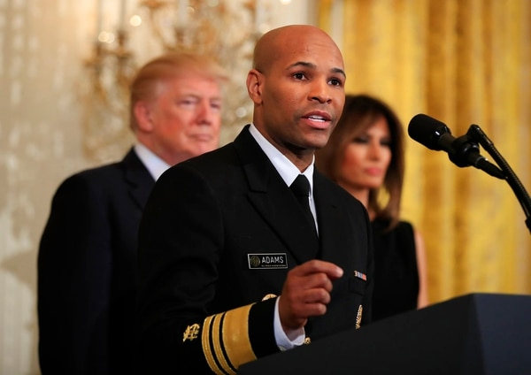 Surgeon General Jerome Adams, speaks during a National African American History Month reception hosted by President Donald Trump and first lady Melania Trump in the East Room of the White House, Tuesday, Feb. 13, 2018, in Washington. (Manuel Balce Ceneta/AP)