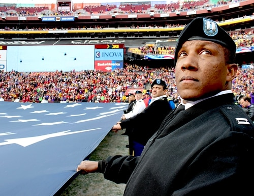 D.C.-area service members participated in the Washington Redskins Salute to Service match-up against the Minnesota Vikings at FedEx Field on Nov. 12, 2017. (Tech Sgt. Arthur Mondale Wright/Air National Guard)