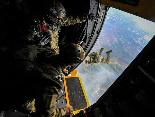 Bonuses for combat controllers are declining. Here, special tactics airmen from the 24th Special Operations Wing jump from a plane. (Senior Airman Christopher Callaway/Air Force)