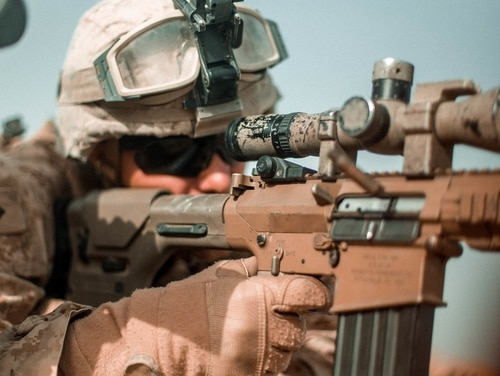 A U.S. Marine with Task Force Southwest fires the M110 Semi-Automatic Sniper System. Marines will soon begin replacing the M110 with the Army's Compact Semi-Automatic Sniper System rifle. (Sgt. Conner Robbins/Marine Corps)