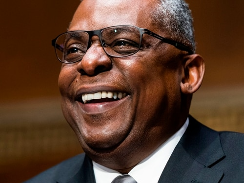 Retired General Lloyd Austin testifies before the Senate Armed Services Committee during his conformation hearing to be the next Secretary of Defense in the Dirksen Senate Office Building in Washington, DC, on January 19, 2021. (Photo by JIM LO SCALZO / POOL / AFP) (Photo by JIM LO SCALZO/POOL/AFP via Getty Images)