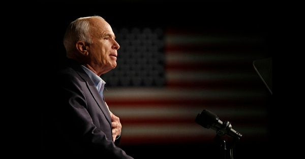 In this Oct. 11, 2008, file photo, Republican presidential candidate Sen. John McCain, R-Ariz., speaks at a rally in Davenport, Iowa. (Gerald Herbert/AP)