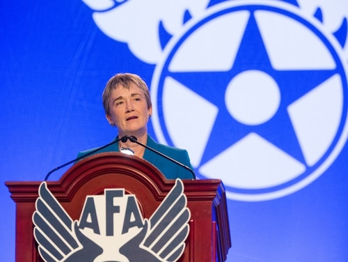 Air Force Secretary Heather Wilson gives the State of the Air Force address to a packed house at the AFA Air, Space and Cyber Conference at National Harbor, Maryland, on Sept. 18, 2017. (Alan Lessig/Staff)