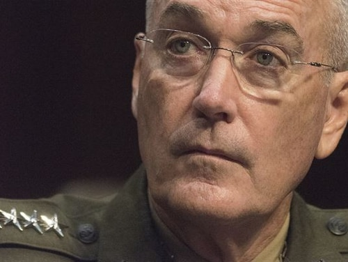 Marine Corps Gen. Joe Dunford, chairman of the Joint Chiefs of Staff, listens to a question during a Senate Armed Services Committee reconfirmation hearing Sept. 26. Dunford has been serving as chairman since Oct. 1, 2015. (Petty Officer 1st Class Dominique A. Pineiro/Navy)
