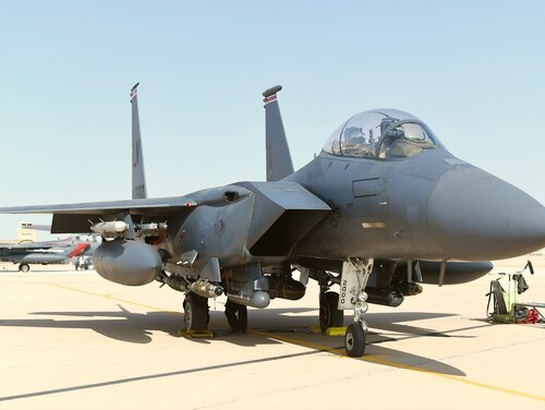 An F-15E Strike Eagle sits on the flight line prior to a sortie at Prince Sultan Air Base, Kingdom of Saudi Arabia, Jan. 8, 2020. An F-15 was forced to divert to Joint Base Andrews in Maryland and conduct an emergency landing on May 2 after an in-flight malfunction. (Tech. Sgt. Michael Charles/Air Force)