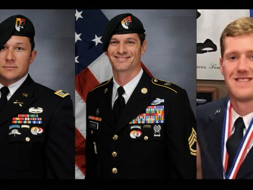 Capt. Andrew Ross, from left, and Sgt. 1st Class Eric Emond, both Green Berets with 3rd Special Forces Group, and Air Force Staff Sgt. Dylan Elchin, of the 26th Special Tactics Squadron, were killed Nov. 27, 2018, when their vehicle was hit by an improvised explosive device in Andar, Ghazni Province, Afghanistan. (DoD)