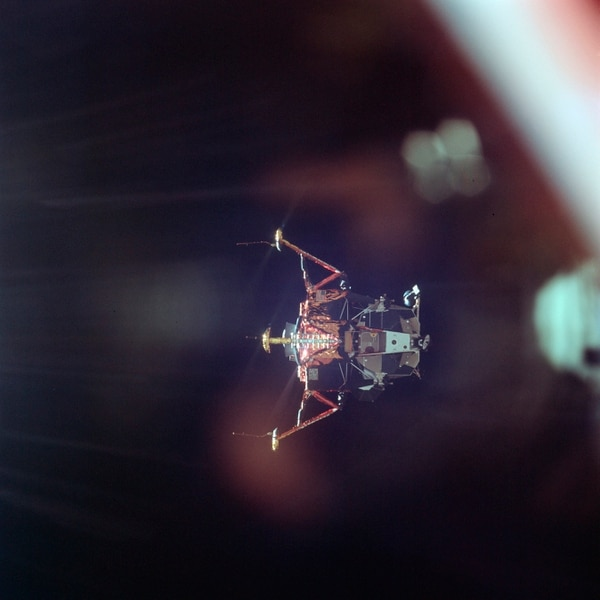 On July 20, 1969, the Apollo 11 Lunar Module undocks from the Command Module on its way to the surface of the moon. (Michael Collins/NASA via AP)