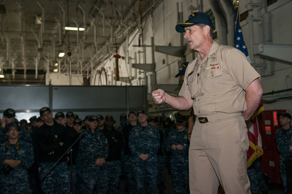 Chief of Naval Personnel Vice Adm. Bill Moran, addresses the crew of the aircraft carrier USS Ronald Reagan (CVN 76). (U.S. Navy)