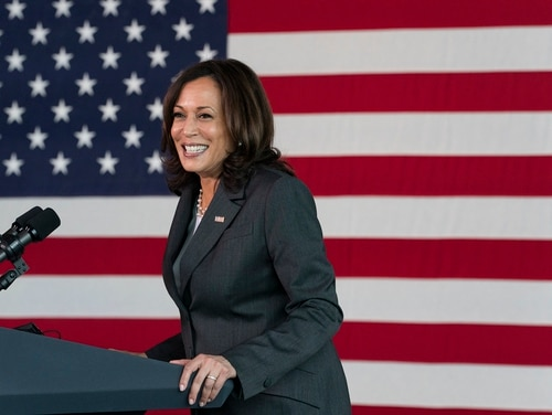 Vice President Kamala Harris speaks at a vaccination site at M&T Bank Stadium on April 29, 2021, in Baltimore. (Jacquelyn Martin/AP)