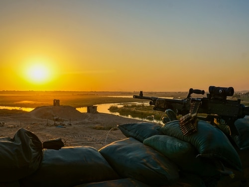 The sun sets along the Iraq-Syria border as seen from a 3rd Squadron, 3rd Cavalry Regiment, observation point overlooking the Euphrates River in Iraq, Sept. 28, 2018. (Capt. Jason Welch/Army)