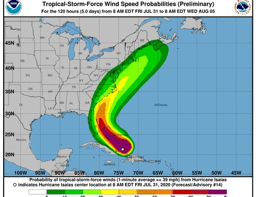 Tropical-Storm-Force wind speed probabilities for Hurricane Isaias. (NOAA/National Weather Service)