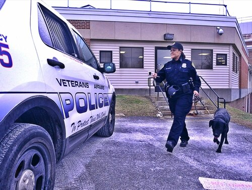 A Veterans Affairs police officer and working dog wrap up a search inside the Castle Point campus of the VA Hudson Valley Health Care System in Wappingers Falls, N.Y., on Jan. 28, 2016. (Jason Tudor/Defense Department)