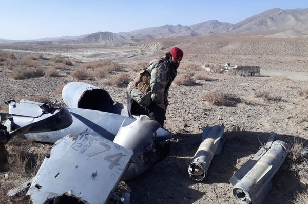 These pictures were allegedly taken by Taliban propagandists who claimed they shot down the drone. (Screenshot)