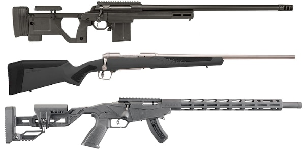 From top, the Lithgow LA105 Woomera, Savage Model 110 Storm and Ruger Precision Rimfire (Manufacturer photos)