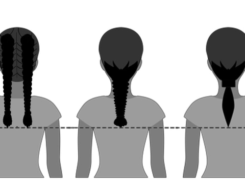 The Air Force in February will relax rules governing how female airmen can wear their hair to allow one or two braids or a ponytail. The service released this diagram showing how long women can wear their braids or ponytail. (Air Force)