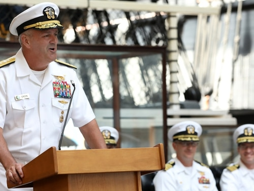 Naval Special Warfare commander Rear Adm. Collin P. Green delivered remarks during a July 30 change of office ceremony in Washington, D.C. (Laura Lakeway/Navy)