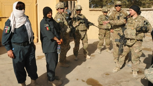 Members of the Afghan Uniformed Police and U.S. Army soldiers serving as