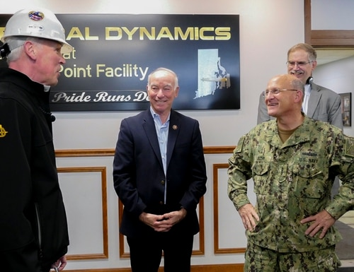 Chief of Naval Operations Adm. Mike Gilday and U.S. Rep. Joe Courtney, from Connecticut visited the General Dynamics Electric Boat Quonset Point Facility on Dec. 10. CNO and the chair of the House Armed Services Subcommittee on visited the Rhode Island works following the announcement of the Block V Virginia-Class Submarine deal, the largest Navy shipbuilding contract in history. (Lt. Mary Sanford/Navy)