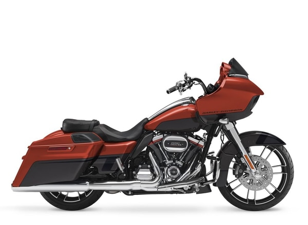 Orange Lava and Dark Alloy CVO Road Glide sees the first-ever tank with no Harley-Davidson name or Bar and Shield logo. (Harley-Davidson)