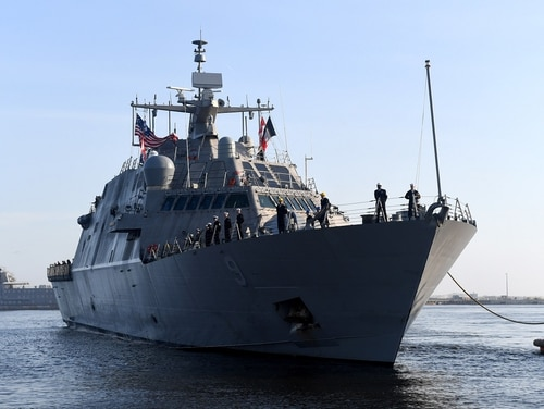 Issues with the propulsion system on the littoral combat ship Little Rock, shown here, have raised concerns of a class-wide issue with the complicated drive train. (MC2 Amanda Battles/U.S. Navy)