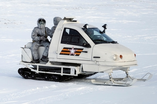 A Russian military snowmobile moves across Kotelny Island on Wednesday. (Vladimir Isachenkov/AP)