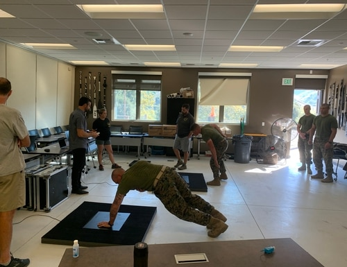 Marines evaluate core strength on a new diagnostic tool from Sparta Science. Marines at recruiting centers, recruit training, School of Infantry, Officer Candidate School and Infantry Officer Course are all being evaluated to better correct imbalances and prevent injuries. (Sparta Science)